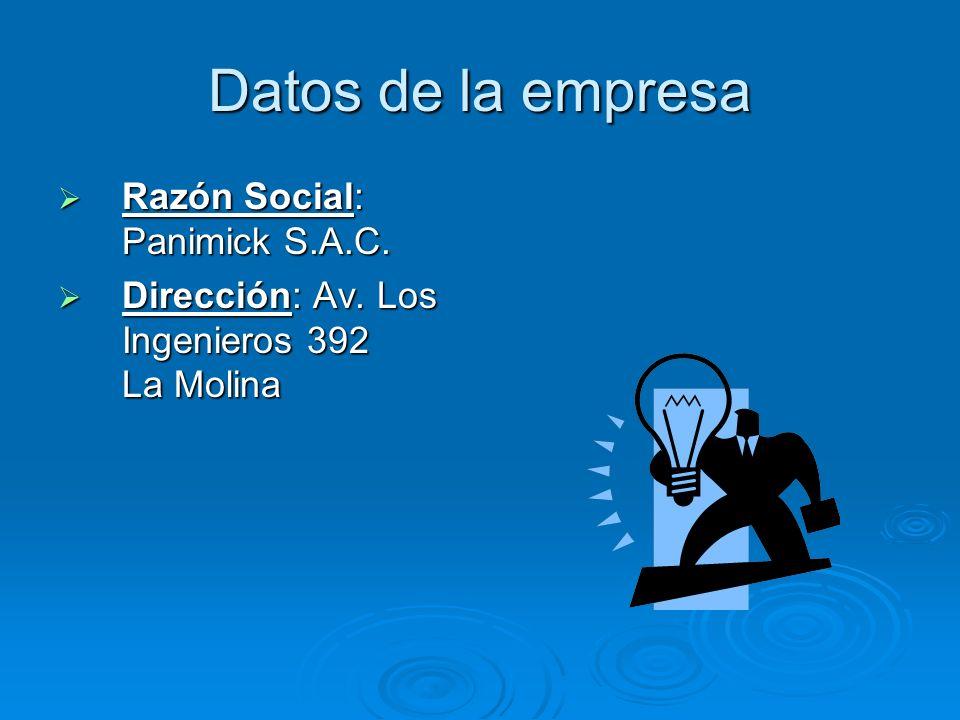 Datos de la empresa Razón Social: Panimick S.A.C.