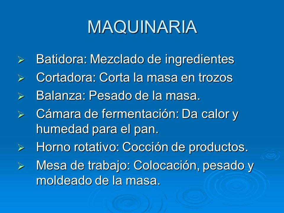 MAQUINARIA Batidora: Mezclado de ingredientes
