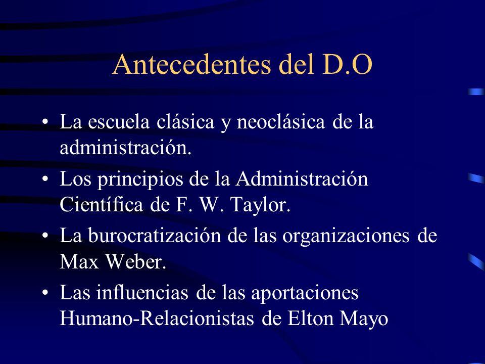Antecedentes del D.O La escuela clásica y neoclásica de la administración. Los principios de la Administración Científica de F. W. Taylor.