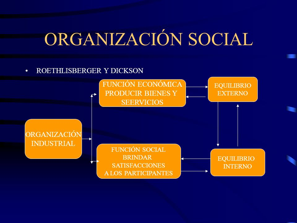 ORGANIZACIÓN SOCIAL ROETHLISBERGER Y DICKSON FUNCIÓN ECONÓMICA