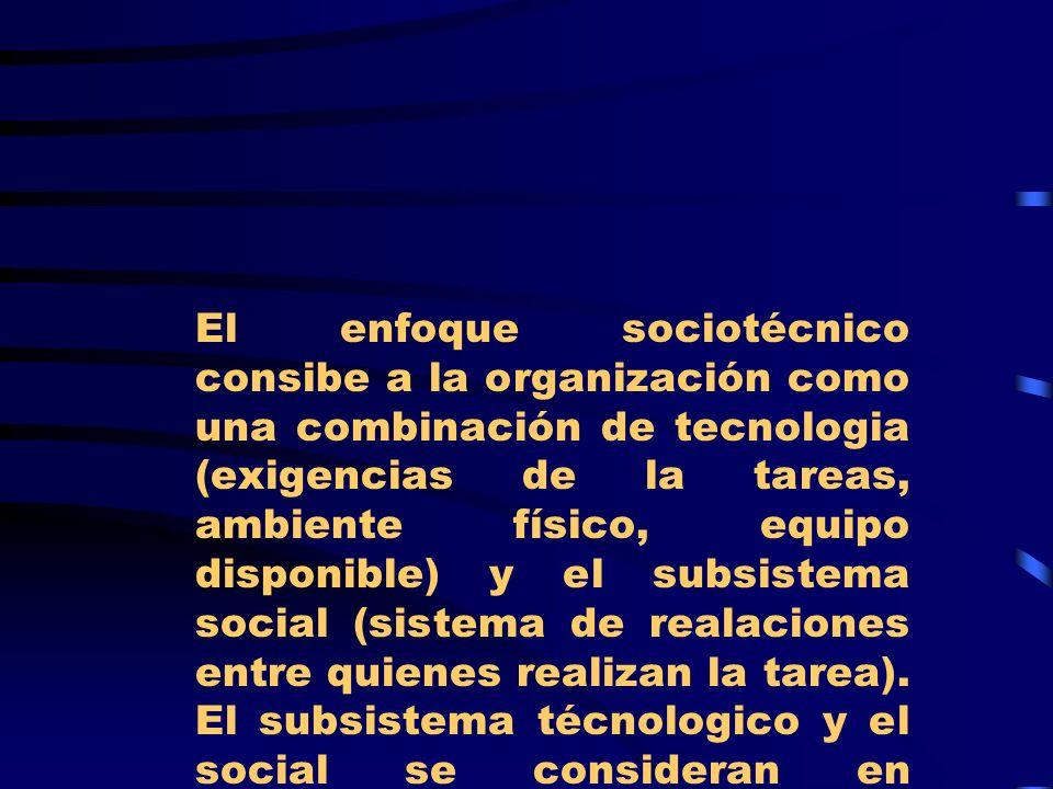 El enfoque sociotécnico consibe a la organización como una combinación de tecnologia (exigencias de la tareas, ambiente físico, equipo disponible) y el subsistema social (sistema de realaciones entre quienes realizan la tarea).