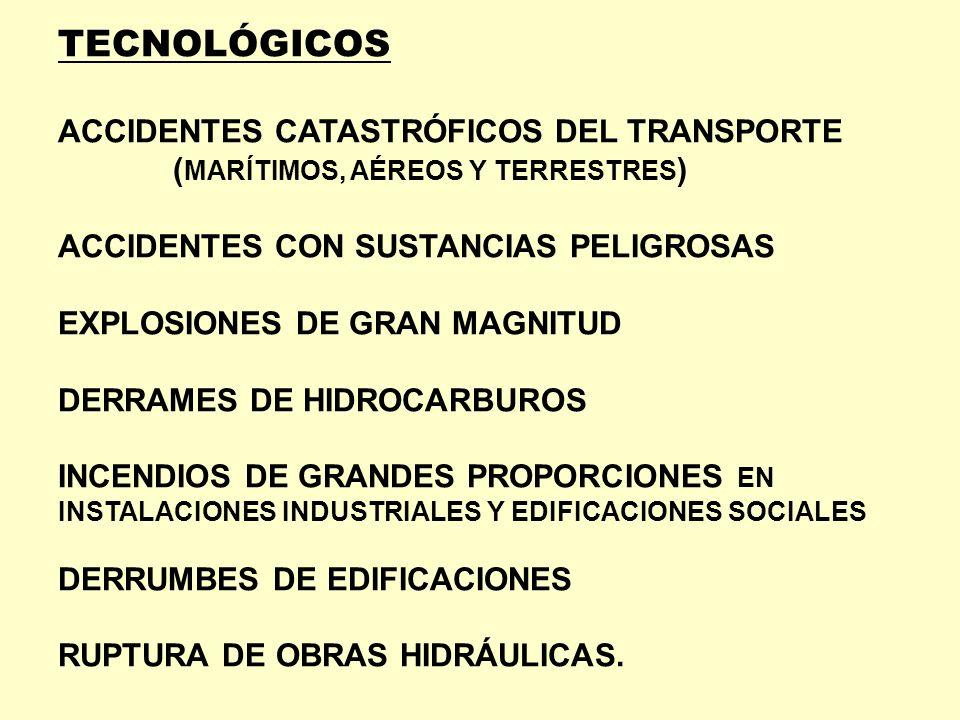 TECNOLÓGICOS ACCIDENTES CATASTRÓFICOS DEL TRANSPORTE