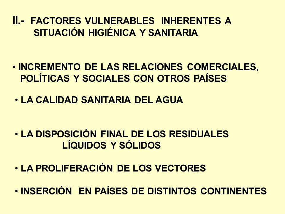 II.- FACTORES VULNERABLES INHERENTES A