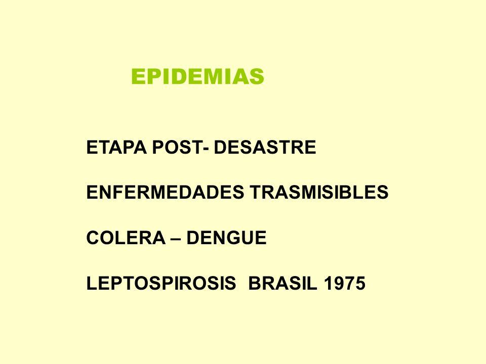 EPIDEMIAS ETAPA POST- DESASTRE ENFERMEDADES TRASMISIBLES