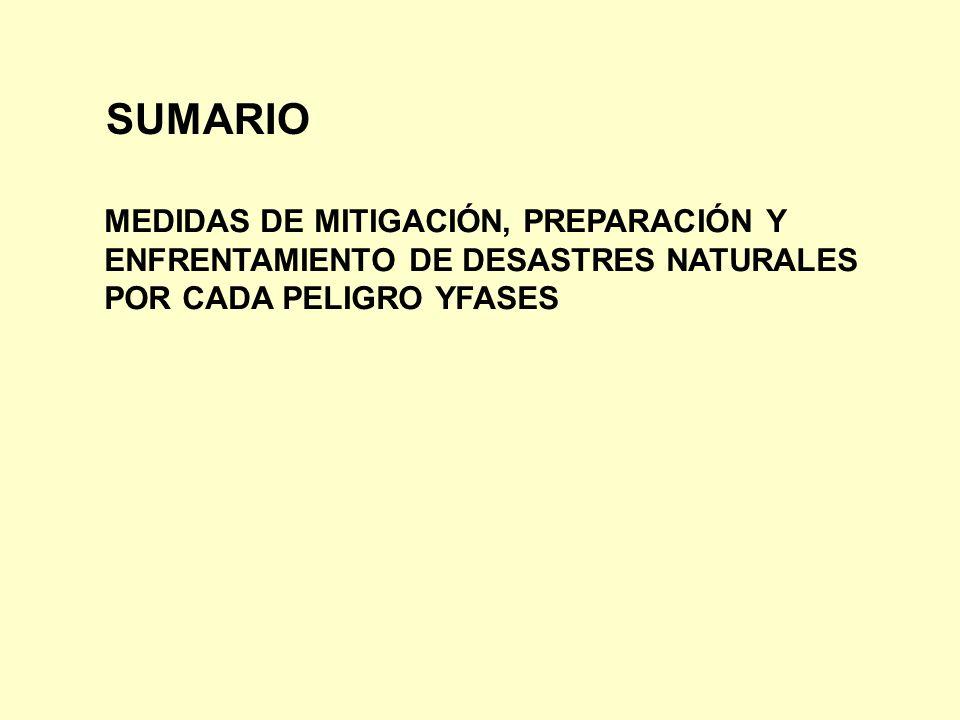 SUMARIO MEDIDAS DE MITIGACIÓN, PREPARACIÓN Y