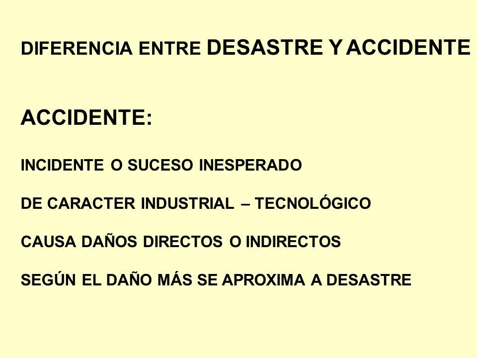 ACCIDENTE: DIFERENCIA ENTRE DESASTRE Y ACCIDENTE