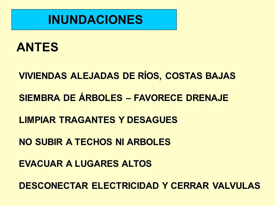 INUNDACIONES ANTES VIVIENDAS ALEJADAS DE RÍOS, COSTAS BAJAS