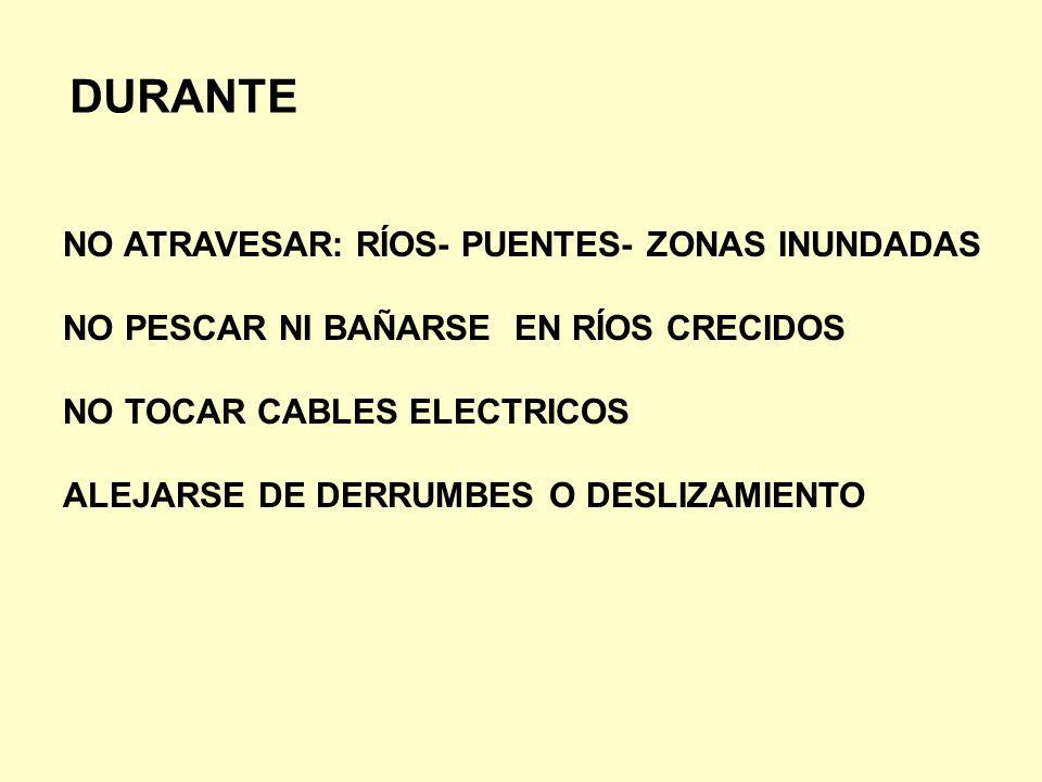 DURANTE NO ATRAVESAR: RÍOS- PUENTES- ZONAS INUNDADAS