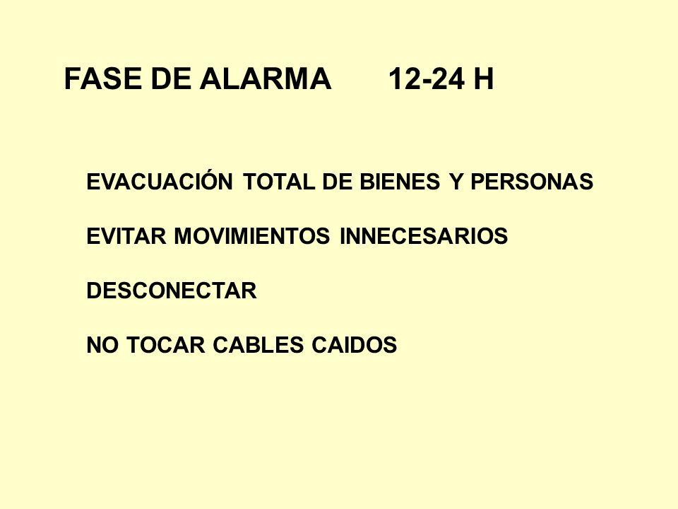 FASE DE ALARMA 12-24 H EVACUACIÓN TOTAL DE BIENES Y PERSONAS