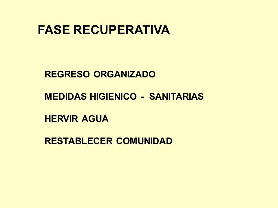 FASE RECUPERATIVA REGRESO ORGANIZADO MEDIDAS HIGIENICO - SANITARIAS