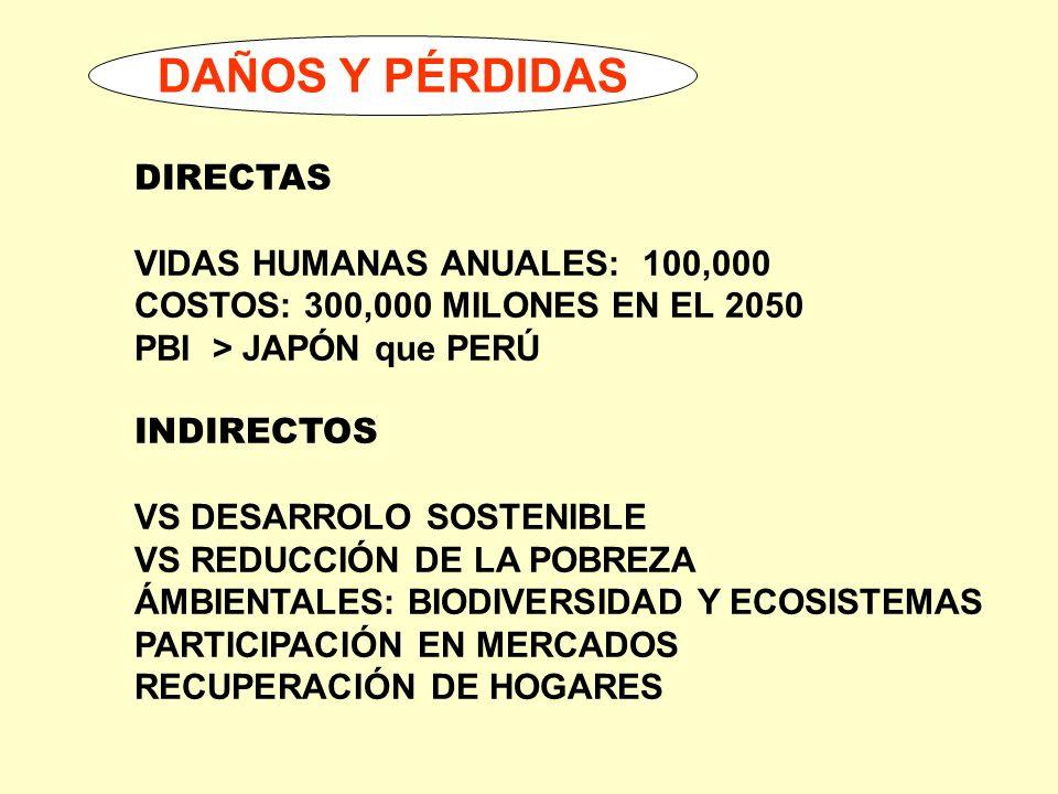 DAÑOS Y PÉRDIDAS DIRECTAS VIDAS HUMANAS ANUALES: 100,000