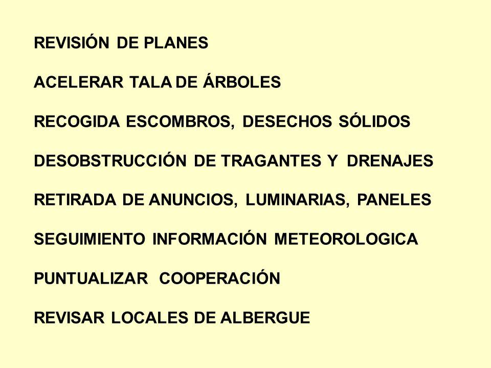 REVISIÓN DE PLANES ACELERAR TALA DE ÁRBOLES. RECOGIDA ESCOMBROS, DESECHOS SÓLIDOS. DESOBSTRUCCIÓN DE TRAGANTES Y DRENAJES.