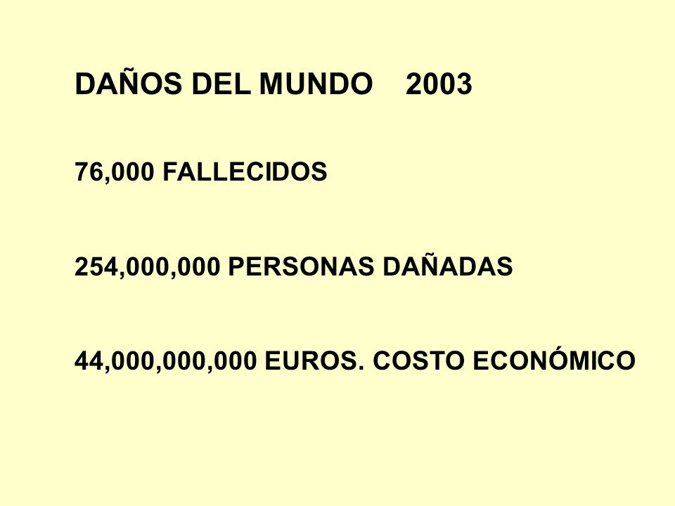 DAÑOS DEL MUNDO 2003 76,000 FALLECIDOS 254,000,000 PERSONAS DAÑADAS
