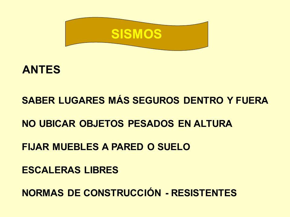 SISMOS ANTES SABER LUGARES MÁS SEGUROS DENTRO Y FUERA
