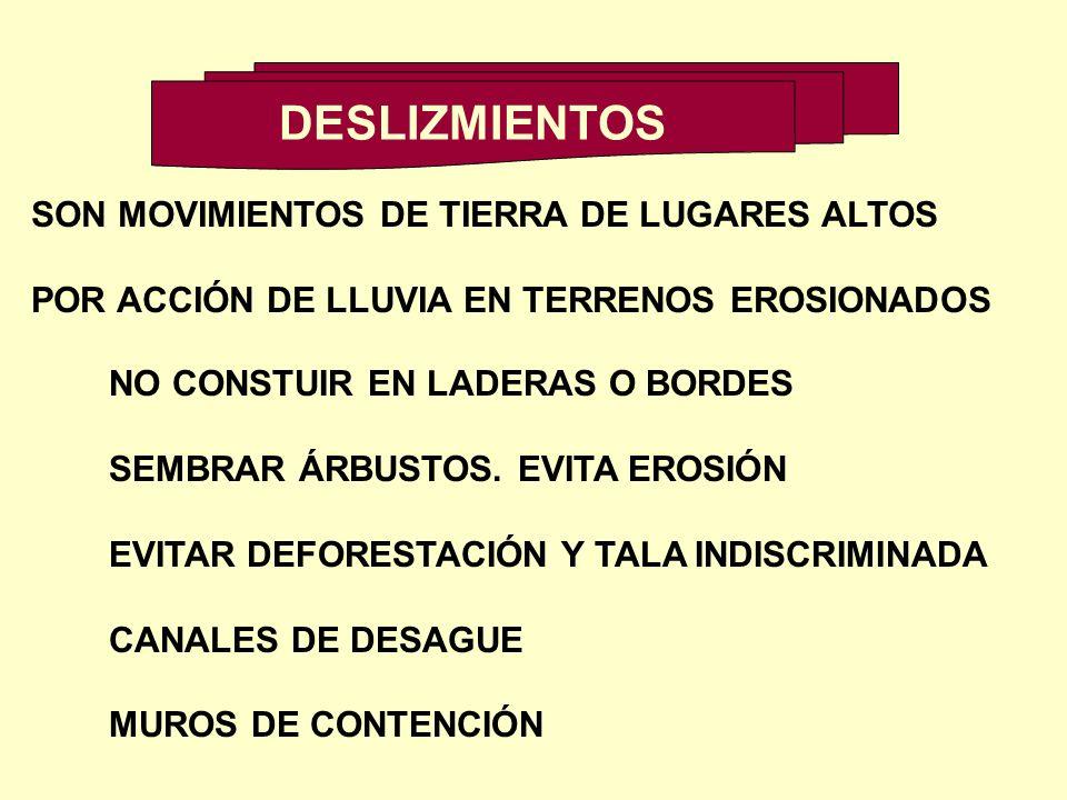 DESLIZMIENTOS SON MOVIMIENTOS DE TIERRA DE LUGARES ALTOS