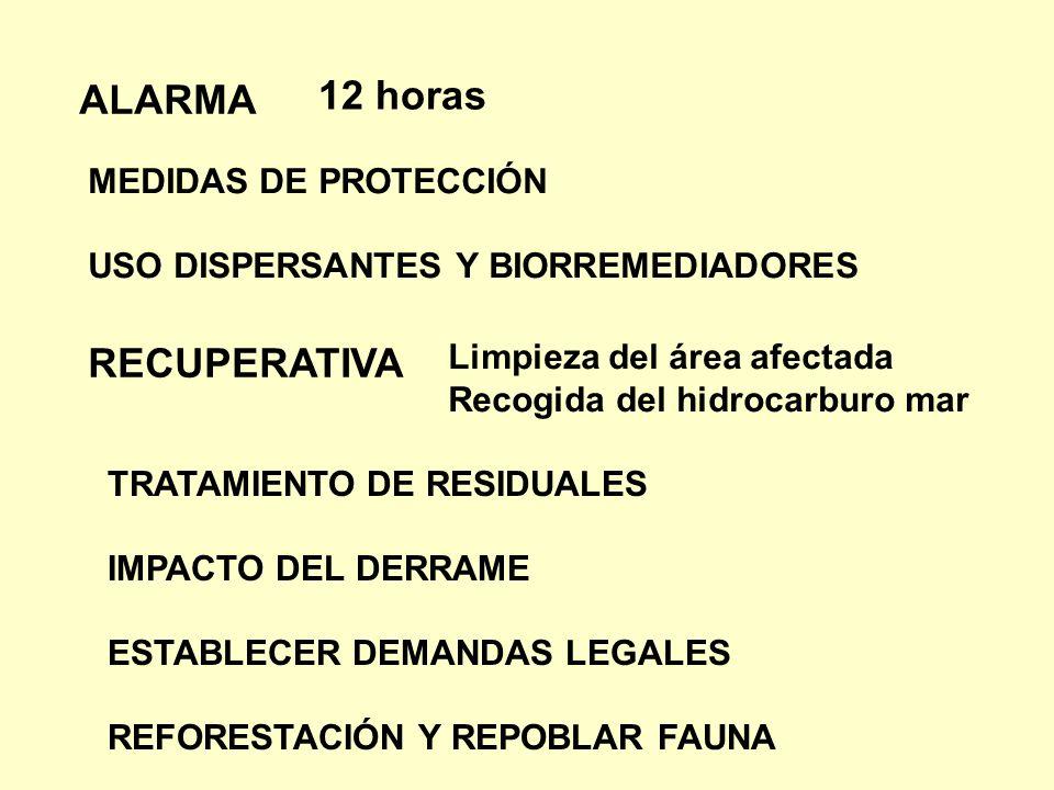 12 horas ALARMA RECUPERATIVA MEDIDAS DE PROTECCIÓN