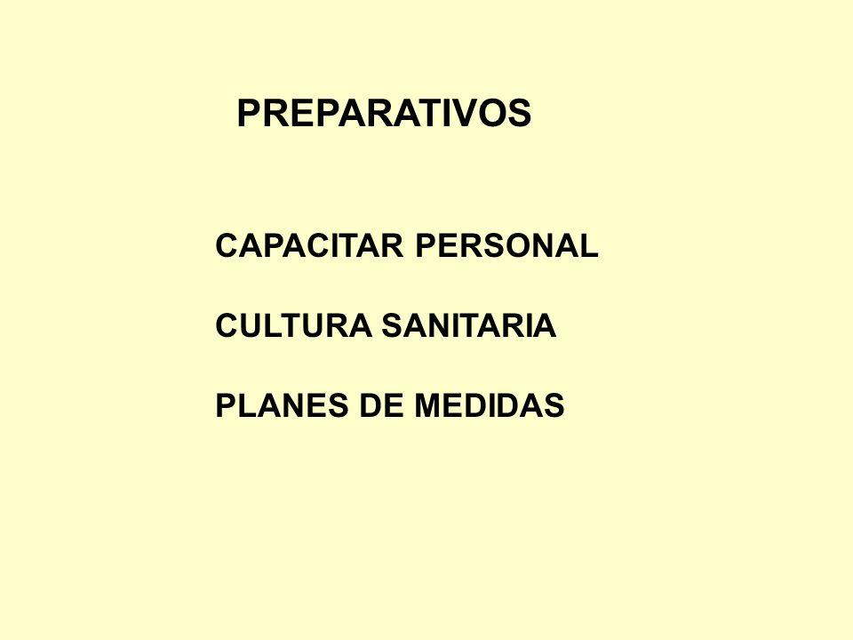 PREPARATIVOS CAPACITAR PERSONAL CULTURA SANITARIA PLANES DE MEDIDAS
