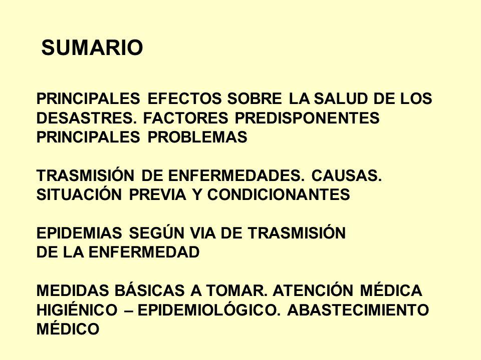 SUMARIO PRINCIPALES EFECTOS SOBRE LA SALUD DE LOS