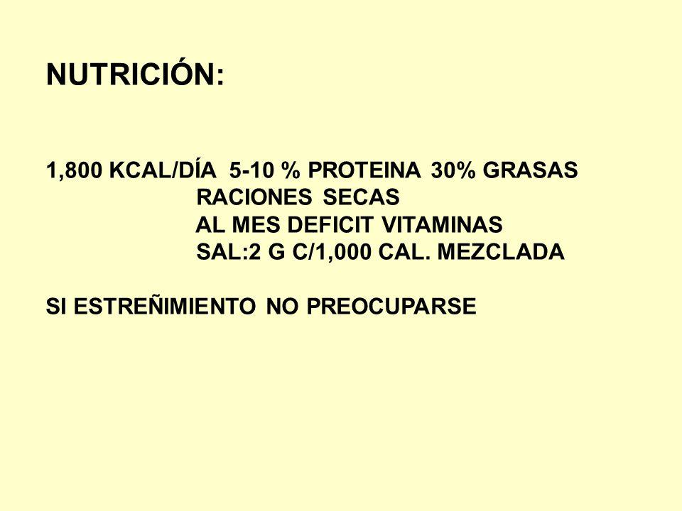 NUTRICIÓN: 1,800 KCAL/DÍA 5-10 % PROTEINA 30% GRASAS RACIONES SECAS
