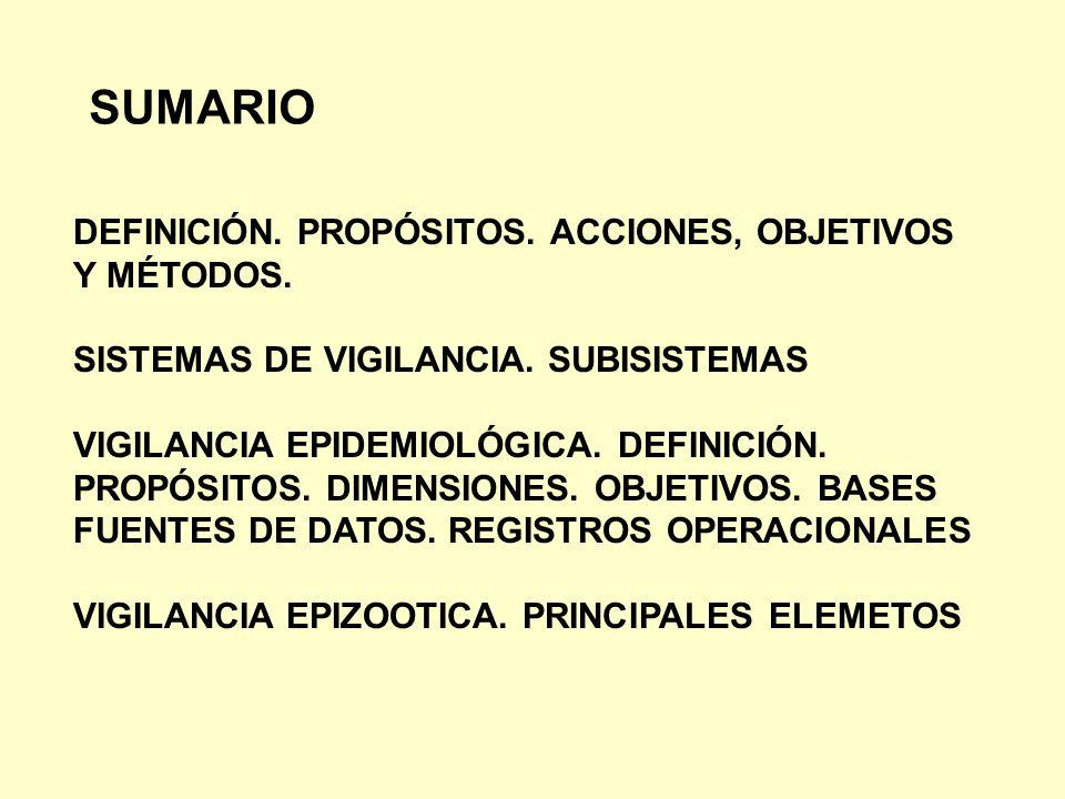 SUMARIO DEFINICIÓN. PROPÓSITOS. ACCIONES, OBJETIVOS Y MÉTODOS.