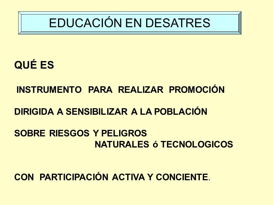 EDUCACIÓN EN DESATRES QUÉ ES INSTRUMENTO PARA REALIZAR PROMOCIÓN
