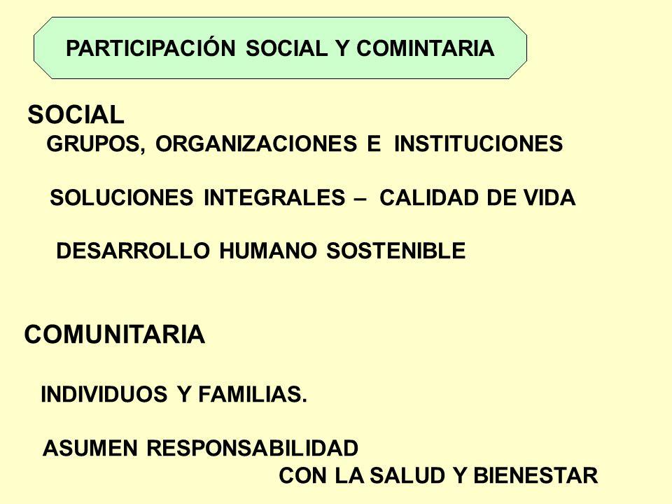 PARTICIPACIÓN SOCIAL Y COMINTARIA