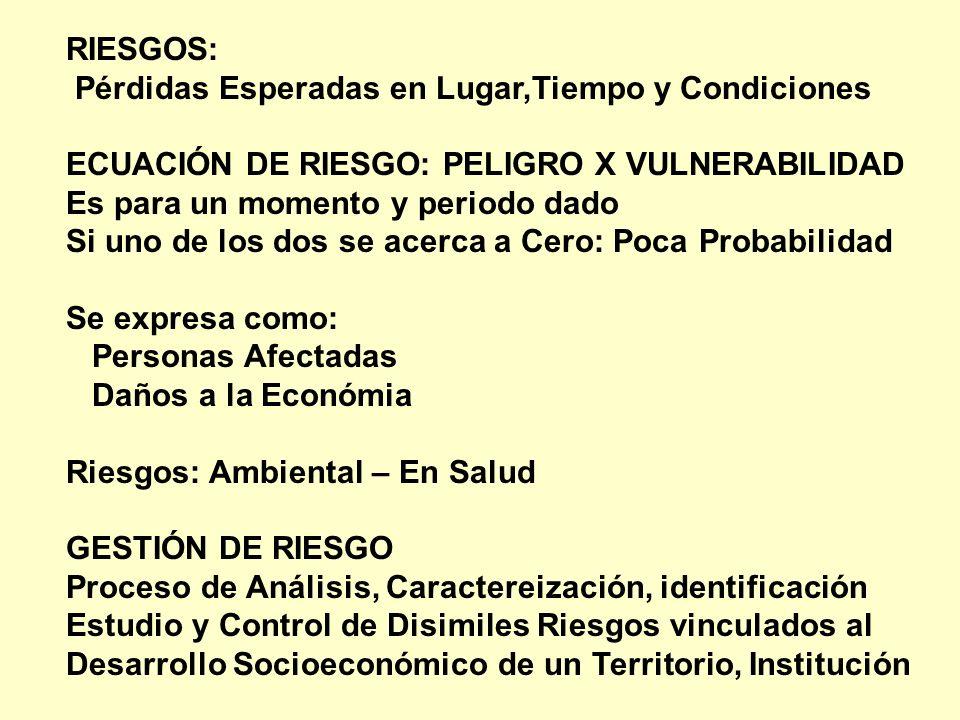 RIESGOS: Pérdidas Esperadas en Lugar,Tiempo y Condiciones. ECUACIÓN DE RIESGO: PELIGRO X VULNERABILIDAD.