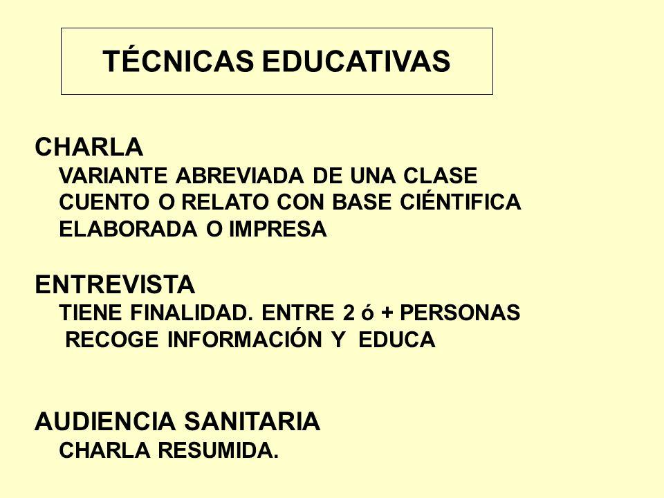 TÉCNICAS EDUCATIVAS CHARLA ENTREVISTA AUDIENCIA SANITARIA