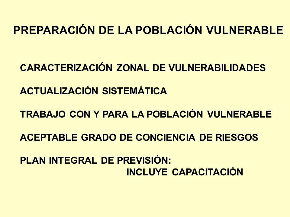 PREPARACIÓN DE LA POBLACIÓN VULNERABLE