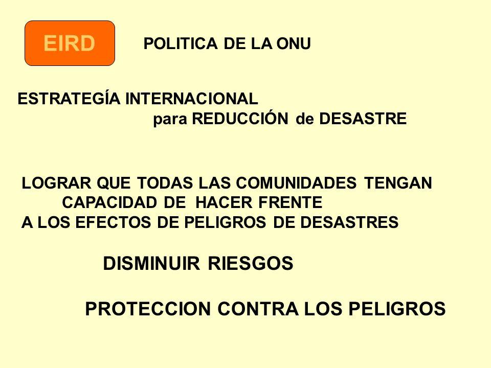 EIRD PROTECCION CONTRA LOS PELIGROS POLITICA DE LA ONU