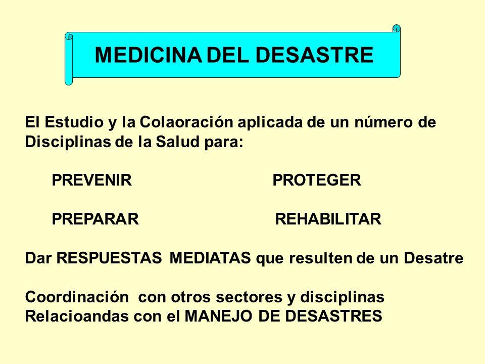 MEDICINA DEL DESASTRE El Estudio y la Colaoración aplicada de un número de. Disciplinas de la Salud para: