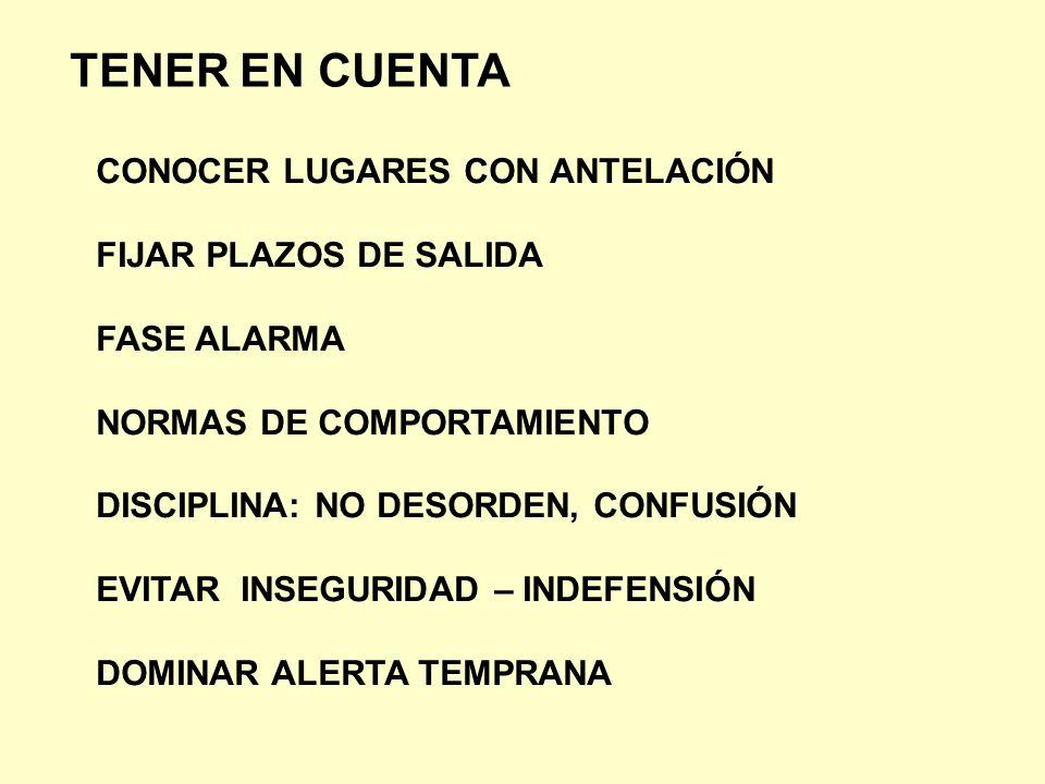 TENER EN CUENTA CONOCER LUGARES CON ANTELACIÓN FIJAR PLAZOS DE SALIDA