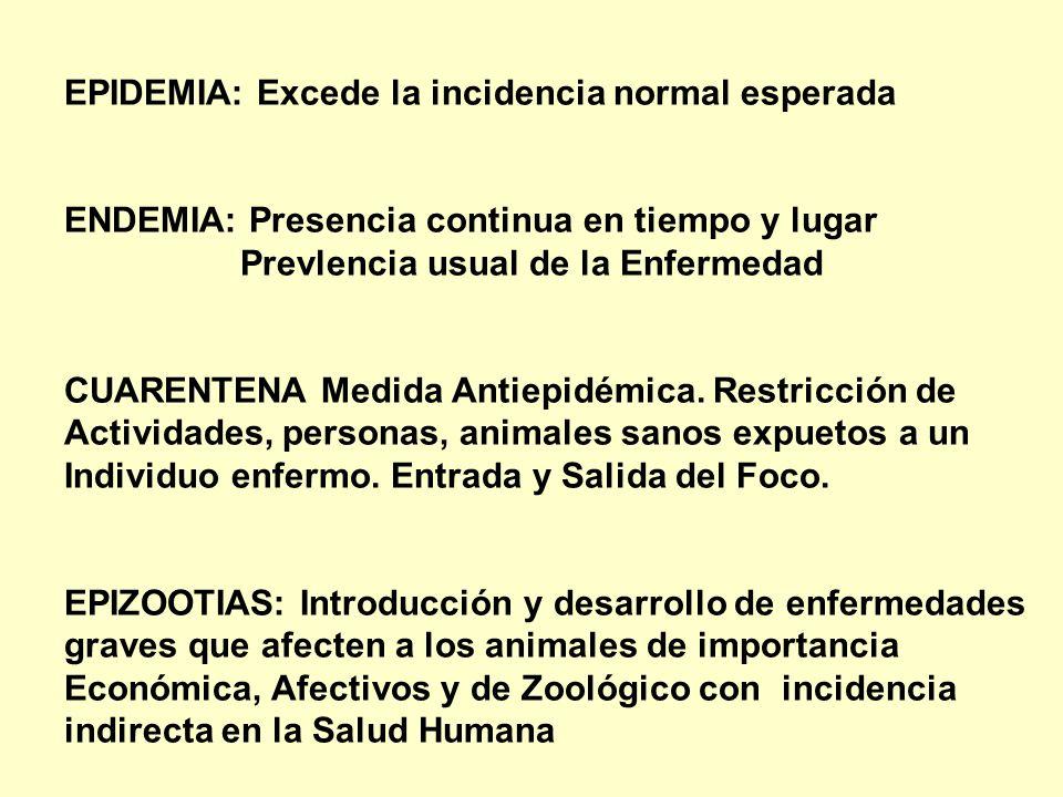 EPIDEMIA: Excede la incidencia normal esperada