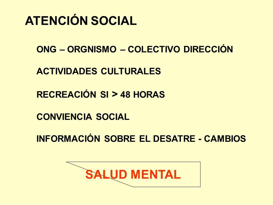 ATENCIÓN SOCIAL SALUD MENTAL ONG – ORGNISMO – COLECTIVO DIRECCIÓN