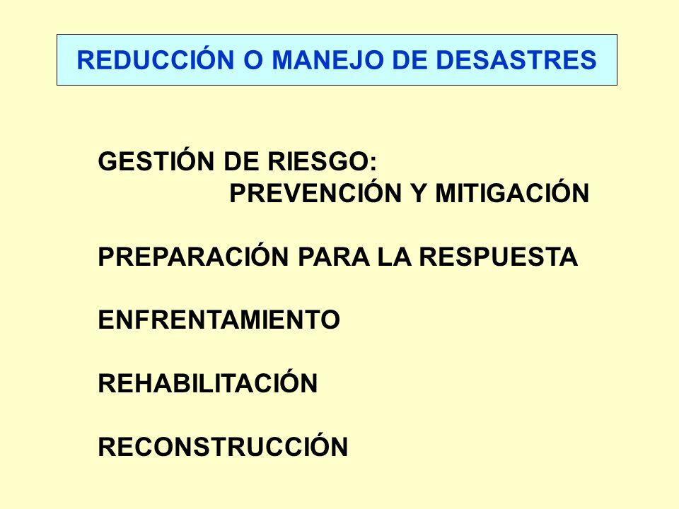 REDUCCIÓN O MANEJO DE DESASTRES