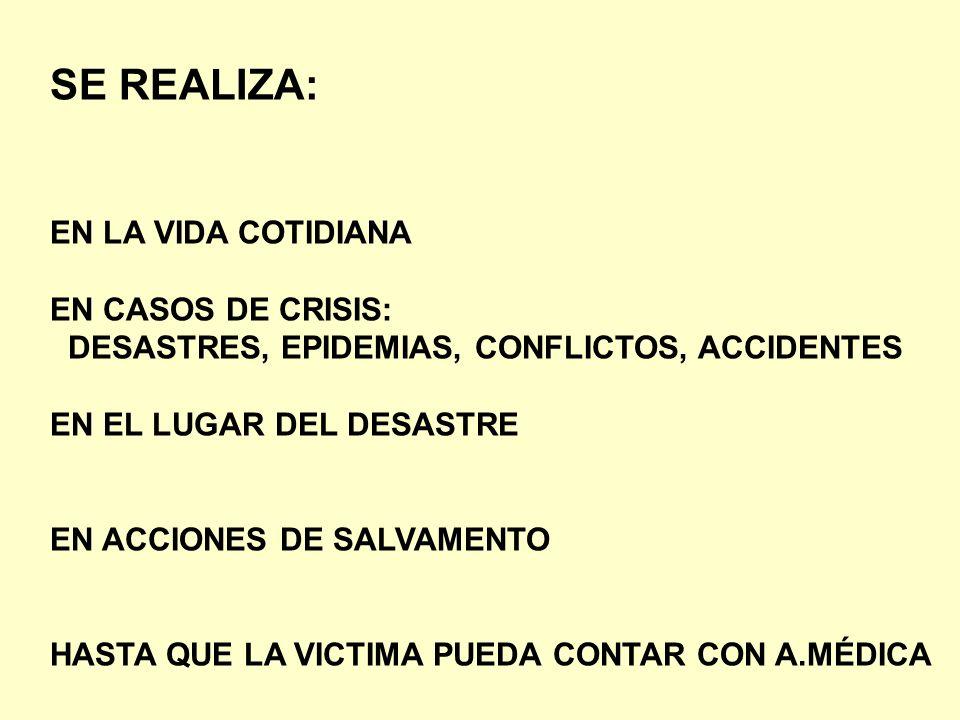 SE REALIZA: EN LA VIDA COTIDIANA EN CASOS DE CRISIS: