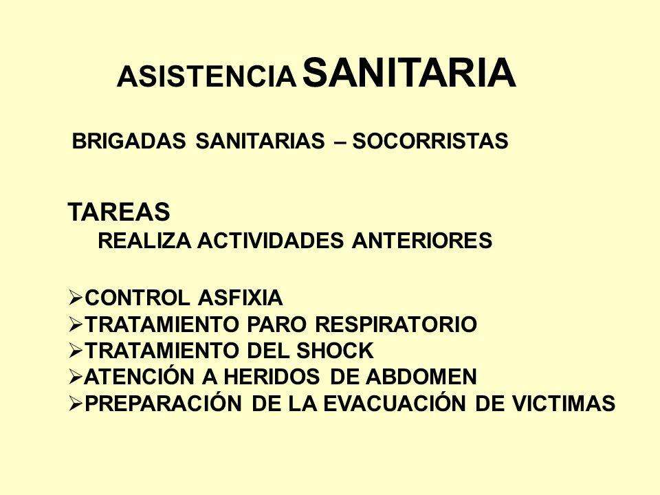 ASISTENCIA SANITARIA TAREAS BRIGADAS SANITARIAS – SOCORRISTAS
