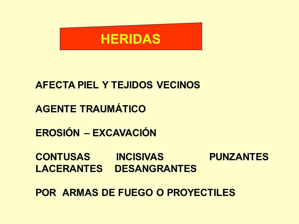 HERIDAS AFECTA PIEL Y TEJIDOS VECINOS AGENTE TRAUMÁTICO