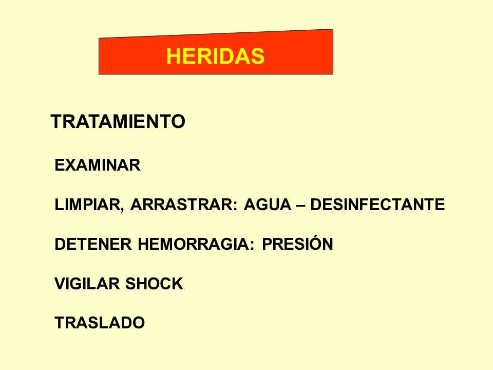 HERIDAS TRATAMIENTO EXAMINAR LIMPIAR, ARRASTRAR: AGUA – DESINFECTANTE