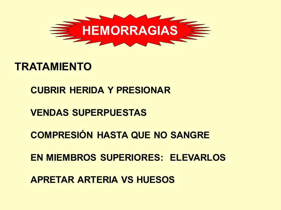 HEMORRAGIAS TRATAMIENTO CUBRIR HERIDA Y PRESIONAR VENDAS SUPERPUESTAS