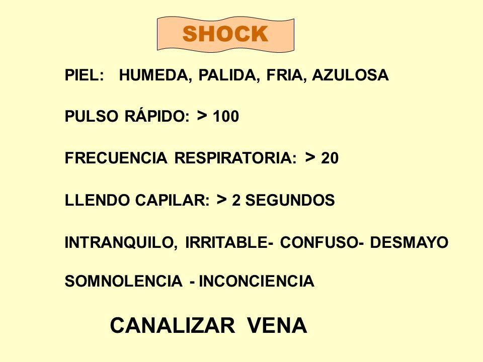 SHOCK CANALIZAR VENA PIEL: HUMEDA, PALIDA, FRIA, AZULOSA