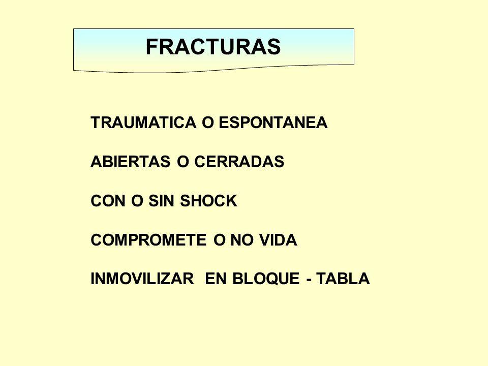 FRACTURAS TRAUMATICA O ESPONTANEA ABIERTAS O CERRADAS CON O SIN SHOCK