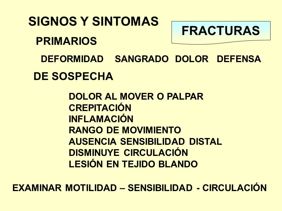 SIGNOS Y SINTOMAS FRACTURAS PRIMARIOS DE SOSPECHA