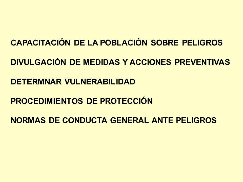 CAPACITACIÓN DE LA POBLACIÓN SOBRE PELIGROS