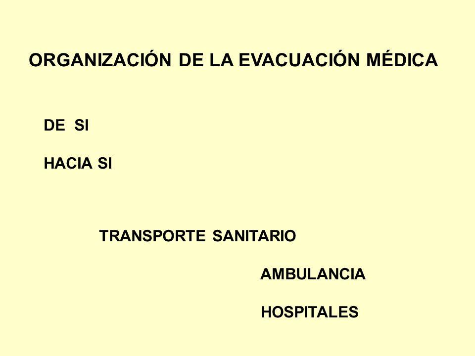 ORGANIZACIÓN DE LA EVACUACIÓN MÉDICA