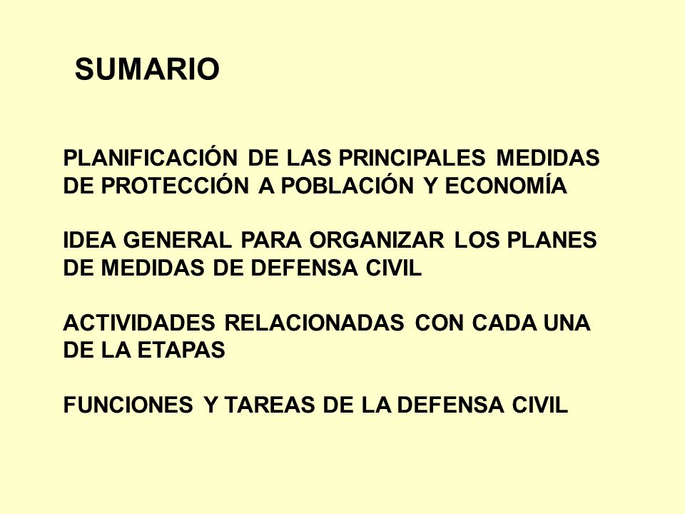 SUMARIO PLANIFICACIÓN DE LAS PRINCIPALES MEDIDAS