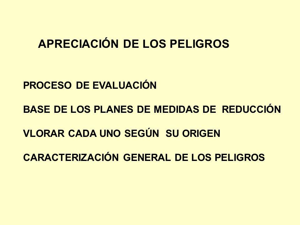 APRECIACIÓN DE LOS PELIGROS