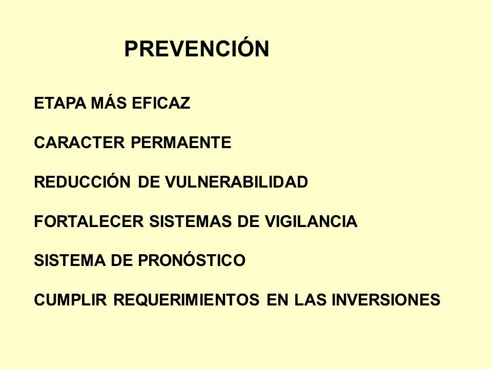 PREVENCIÓN ETAPA MÁS EFICAZ CARACTER PERMAENTE