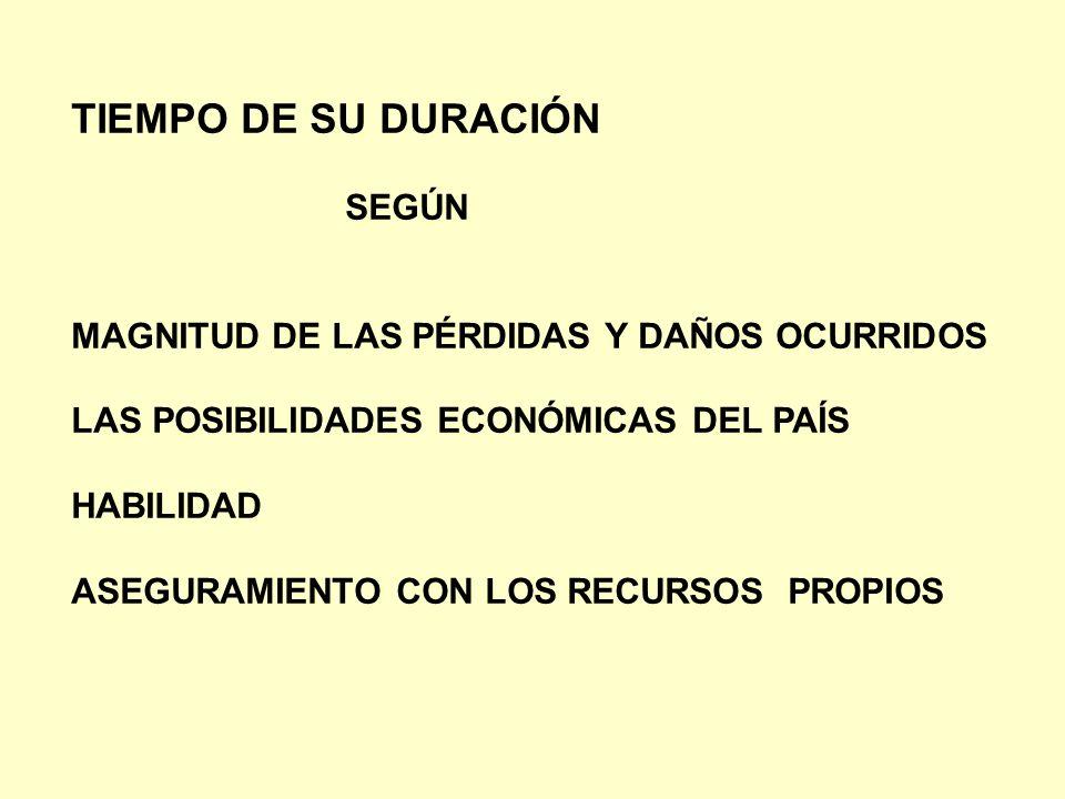 TIEMPO DE SU DURACIÓN SEGÚN MAGNITUD DE LAS PÉRDIDAS Y DAÑOS OCURRIDOS