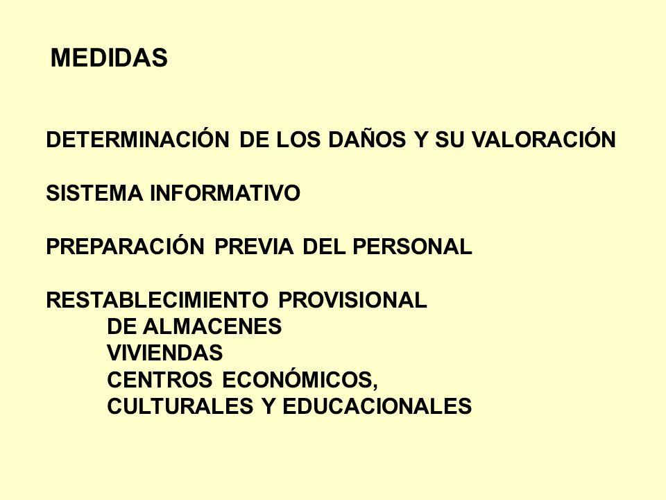 MEDIDAS DETERMINACIÓN DE LOS DAÑOS Y SU VALORACIÓN SISTEMA INFORMATIVO